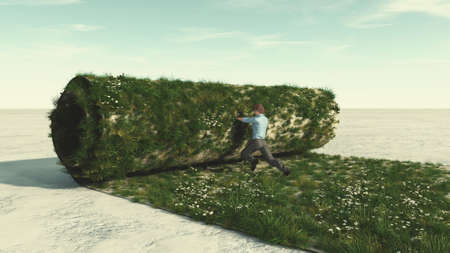 Man pushing a grass roll on aspahlt . Rebranding and start up concept . This is a 3d render illustration .