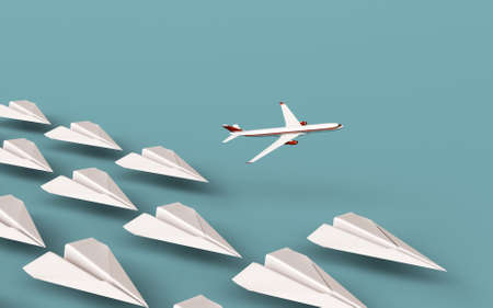Paper planes in line with a real airplane taking off . Think different concept . This is a 3d render illustration .