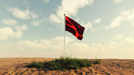 Red flag on a patch of grass in the desert . Target audience concept . This is a 3d render illustration .