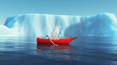 Polar bear in a boat and an iceberg. This is a 3d render illustration . Reklamní fotografie