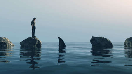 Man on a rocks in the ocean with a gap between and a shark . Taking the risk concept . This is a 3d render illustration .