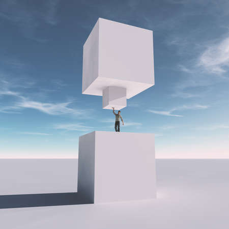 Man lifting a cube . Start up and development concept . This is a 3d render illustration .