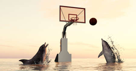 Dolpinhs playing basketball in the ocean . This is a 3d render illustration.