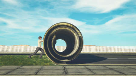 Man rolling up the highway . Rebranding concept . This is a 3d render illustration .