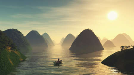 Traveler in a boat on lake at rounded mountains during sunset . This is a 3d render illustration .