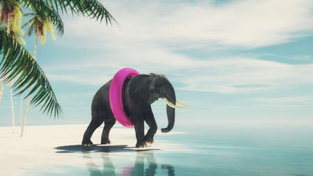 Elephant wearing a swim belt going to the ocean on tropical beach . This is a 3d render illustration .