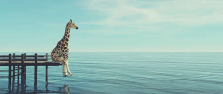 Giraffe sitting on a wooden deck at the ocean . This is a 3d render illustration .