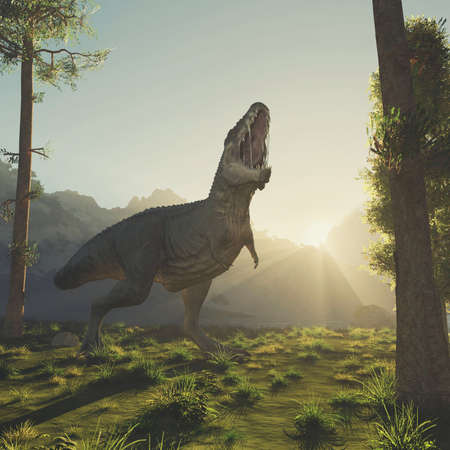 T rex in the forest at mountains . This is a 3d render illustration . Stockfoto
