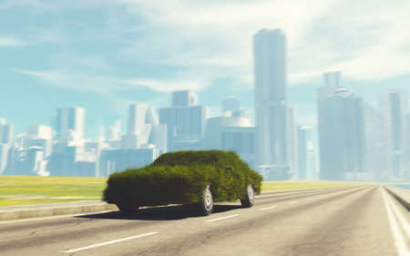 Car made of grass on highway and a city in the background . Eco friendly and electric car . This is a 3d render illustration.