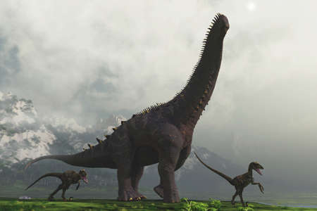 Alamosaurus and two dinosaurs at mountains on foggy day. This is a 3d render illustration .