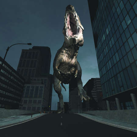 Gigantic t rex running in the city . This is a 3d render illustration .