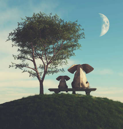 Elephant family on bench . This is a 3d render illustration .