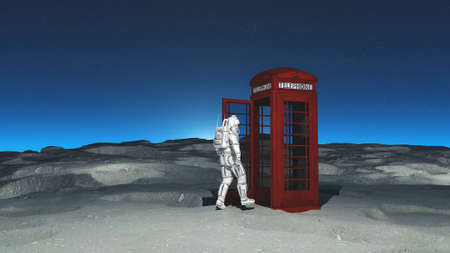 Astronaut walking into a telephone cabin on the moon. This is a 3d render illustration .