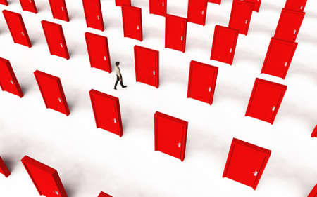 Top view of a man walking between multiple doors . Different choices and decision making concept . This is a 3d render illustration .