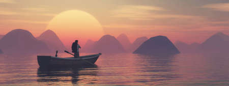 Traveler in a boat on lake at mountains during sunset . This is a 3d render illustration .