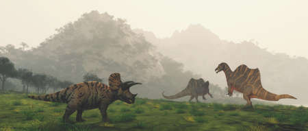 Dinosaurs in the valley at mountains . This is a 3d render illustration .