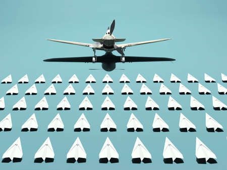 Group of paper planes and a real on in front . Team recruitment and leadership concept . This is a 3d render illustration .