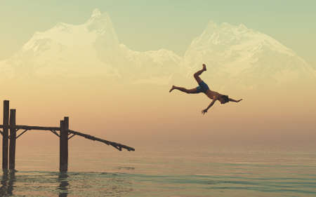 Man jumping from a wooden deci into the lake at mountains . This is a 3d render illustration . Stockfoto