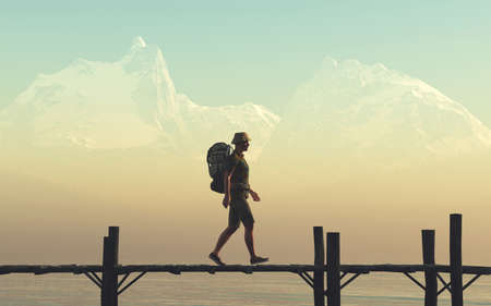 Traveler with a backpack walking a wooden pontoon , a lake and mountains in the background . This is a 3d render illustration .