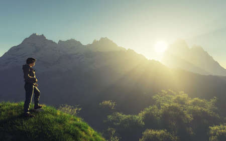Traveler standing on a cliff looking at mountains during sunset . This is a 3d render illustration . Stockfoto