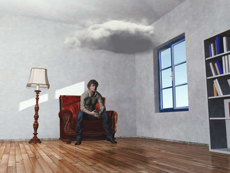 Confused man sits on armchair in a room with a cloud inside . This is a 3d render illustration .