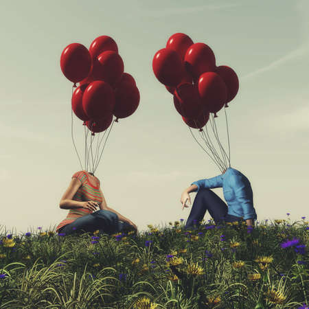 Couple with balloons instead of head chatting on grass field . Date and matching concept . This is a 3d render illustration . Stockfoto