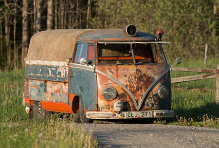 Holo Sweden, May 25, 2014. Volkswagen bus, Newly renovated, but the old feeling on the outside.