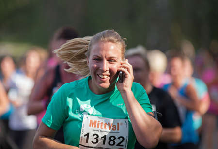 STOCKHOLM SEPTEMBER 06 2014. TJEJMILEN.  A running race each year in Stockholm with only female participants. Jenny Wallden Gustafsson.