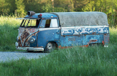 executable: Holo Sweden, May 25, 2014. Volkswagen bus, Newly renovated, but the old feeling on the outside.