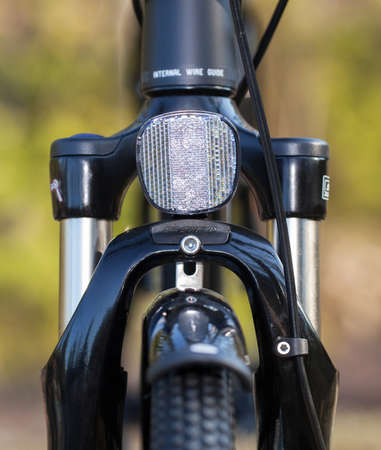 reflectors: HOLO, SWEDEN, March 20. 2015.  Bicycle reflectors mounted in the front of the bike