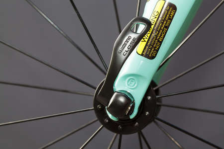 4 wheel: HOLO SWEDEN 4 JULI 2015. BIANCHI BIKE. Locking device on the bicycle wheel. Editorial