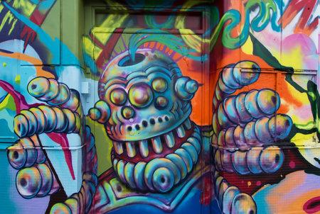 figurative art: STOCKHOLM SWEDEN July 15, 2015. Graffiti painting on the house called Kolingsborg, Slussen in Stockholm.