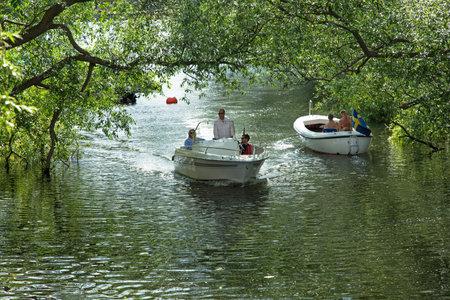 joyride: STOCKHOLM SWEDEN July 15, 2015. Joyride in the leisure boat in the city of Stockholm.