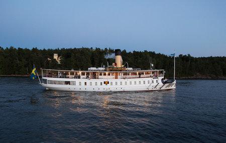 archipelago: STOCKHOLM-AUG-13-2015. Passenger boat in the Stockholm archipelago.