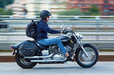 STOCKHOLM SWEDEN July 15 2015. Man on motorcycle in Stockholm Editorial