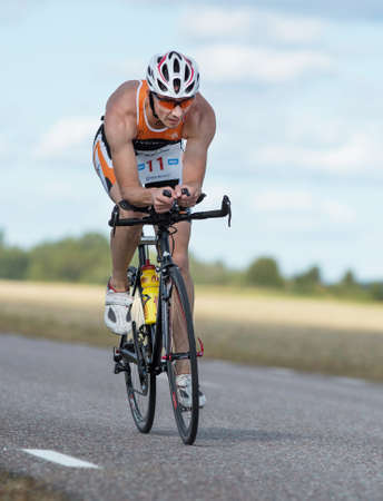 MORKO SWEDEN - AUG 29 2015: Triathlon for both exercisers and professional exerted on August 29 on an island in Sweden.