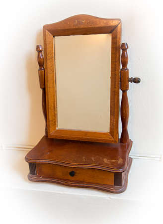 old frame: Old mirror frame and small box accessories. Stock Photo