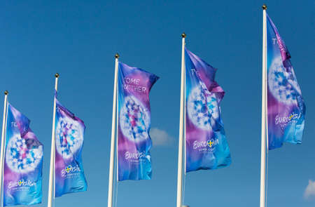 flagpoles: STOCKHOLM SWEDEN 4 May 2016, Flags of Eurovision Song Contest 2016 Le Concours Eurovision. Editorial