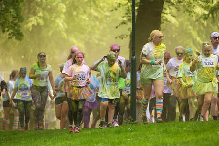 annual event: STOCKHOLM, SWEDEN  MAY 22 2016. Stockholm Color Run in Tantolunden on May 22, 2016. An annual event with many happy participants.