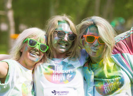 annual event: STOCKHOLM, SWEDEN  MAY 22 2016. Stockholm Color Run in Tantolunden on May 22, 2016. An annual event with many happy participants