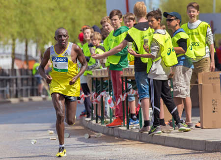 willy: STOCKHOLM SWEDEN 4 JUNE 2016.  Stockholm marathon, a male athlete in the race. Willy Mwangi (KEN) Editorial
