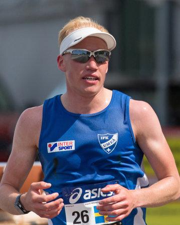 patrik: STOCKHOLM SWEDEN 4 JUNE 2016. Stockholm marathon, male athlete in the race. Patrik Wikström (SWE).