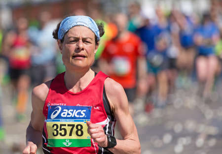 STOCKHOLM SWEDEN 4 JUNE 2016. Stockholm marathon, female athlete in the race. Editorial