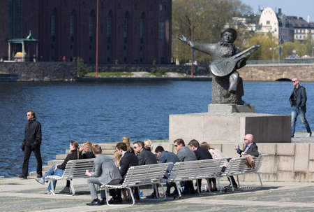 sweden resting: STOCKHOLM SWEDEN 4 May 2016. Evert Taubes terrace is a place on the west Riddarholmen in Stockholm.