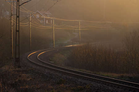 curve: Railway track in the curve. Stock Photo