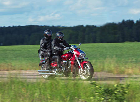joyride: TROSA SWEDEN June 25, 2015. Motorcyclists on the road to the small town of Trosa