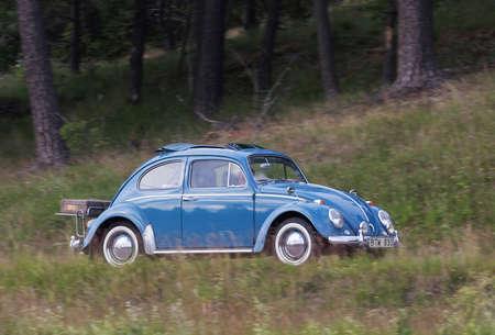 hubcaps: TROSA SWEDEN June 23 2016. VOLKSWAGEN 1200 LIM 114X year 1963, blue.