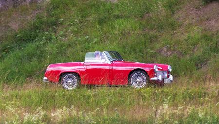 midget: TROSA SWEDEN June 23 2016. BMC MG MIDGET model year 1965 Red.