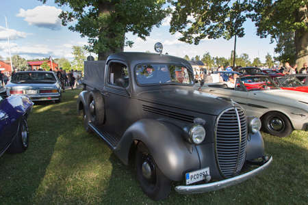 flathead: TROSA SWEDEN July 7 2016. Ford Pickup (91 c) model year 1939. Flathead 85 hk V8. Veteran Car meeting in the small Swedish town of Trosa located about 70 km south of Stockholm.