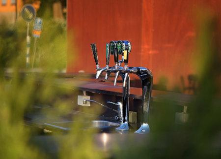STOCKHOLM SWEDEN 7 June 2017. Beer sales at an outdoor bar. editorial,